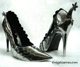 D 003b Nigel Carren metal high heels can be made in any finish. This pair are shown Bright Polished