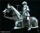 A 001 Fully articulated miniature horse armour and knight on hand-carved limewood horse with Poleaxe and Bascinet