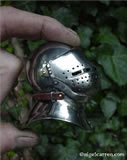 C 001 Miniature Grand Bascinet with one-piece hand-forged skull and working buckles