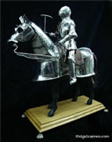 A 005 Fully articulated miniature horse armour and knight on hand carved Limewood horse standing on English Oak base