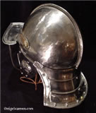 C 001 Bright- Polished 3-Bar pot helmet with pierced cheekpieces