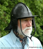 H 001 Renowned author and historian Martin Marix Evans modelling my Boulter 3-bar pot helmet for osprey publishing