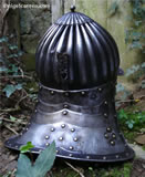 B 002 Fluted Prussian cavalry helmet rear showing pierced plume-holder
