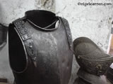 G 002 English Civil War cavalry troopers cuirass after restoration and fitting of replacement shoulder straps