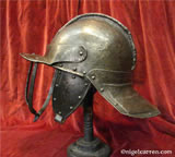 L 002 English Civil War 3-bar pot helmet by rare maker after restoration