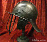 M 002 English Civil War 3-bar pot helmet shown after restoration